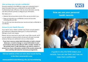 How We Use Your Personal Health Records - A Patient Guide